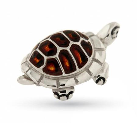 Черепашка из серебра с эмалью ST490