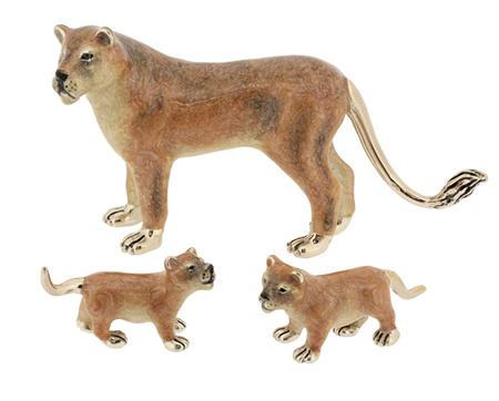Львица и львята из серебра ST549-5