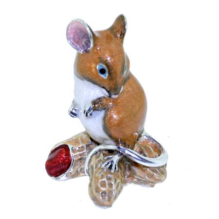 Крыса и Орехи серебро, эмаль ST715