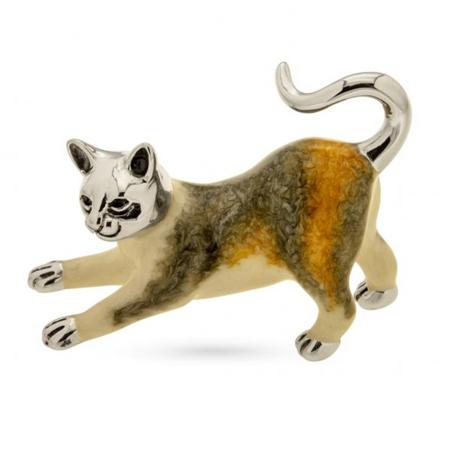 Кошка малая серебро с эмалью ST416-2