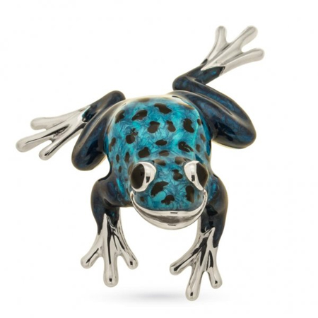 Лягушка синяя серебро эмаль ST272B-1