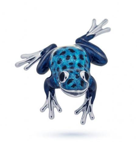 Голубая лягушка серебро эмаль ST280B-1