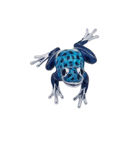 Лягушка Голубая серебро с эмалью ST280B-3