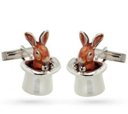 Запонки Кролик в шляпе с эмалью GM186