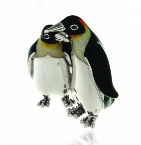 Пара пингвинов серебро ST283