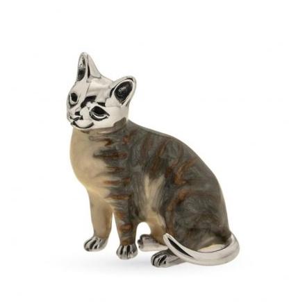 Кошка большая серебро с эмалью ST259G-1