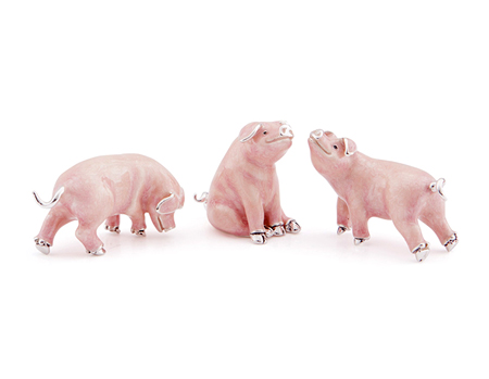 Три свинки серебро эмаль ST690