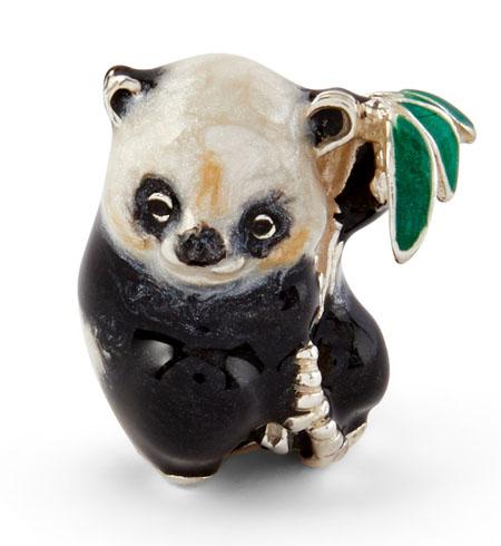 Панда с веткой серебро эмаль ST731