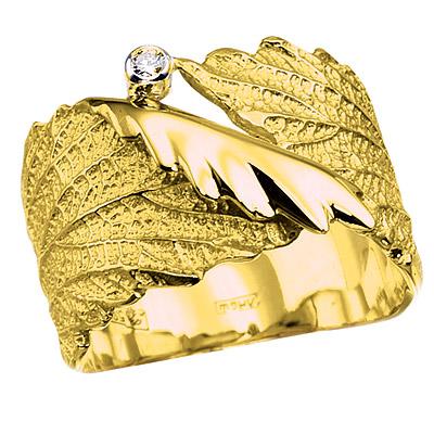 Золотое кольцо с бриллиантами ЛИСТОК К-14028