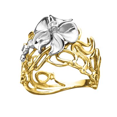 Золотое кольцо с бриллиантами ЛЕСНАЯ НИМФА К - 14049