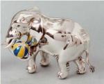 Слон с мячом серебро с эмалью ST77