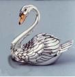 Лебедь большой из серебра с эмалью ST79-1