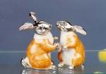 Зайцы серебро с эмалью ST95