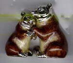 Медведи бурые серебро с эмалью ST221