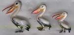 Три пеликана с эмалью ST357