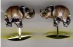 Запонки СЛОНЫ серебро с эмалью GM84