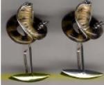 Запонки КОБРА серебро с эмалью GM104