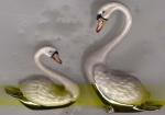Два лебедя серебро с эмалью ST394