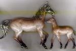Лошадь с жеребенком серебро с эмалью ST401