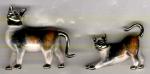 Две кошки серебро с эмалью ST416
