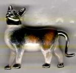 Кошка большая серебро с эмалью ST416-1