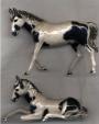 Две лошади серебро с эмалью ST432