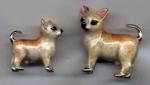Собаки Чи хуа хуа серебро с эмалью ST437