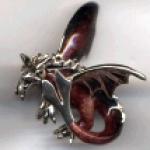Дракон большой серебро с эмалью ST438-1