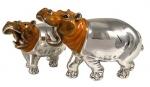 Два Бегемота из серебра ST145