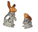 Зайцы серебро с эмалью