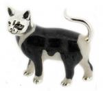Кошка большая серебро с эмалью ST96-1