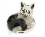 Кошка малая серебро с эмалью ST96-3