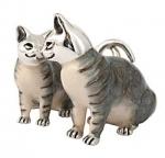 Кошки серебро с эмалью ST39