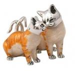 Кошки серебро с эмалью ST39A