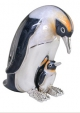 Пингвин с птенцом серебро с эмалью ST201