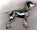 Собака породы Поинтер серебро с эмалью ST105.