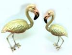 Два фламинго серебро с эмалью ST374
