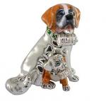 Собака породы Сенбернар со щенком серебро ST124