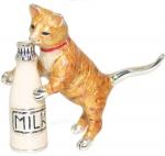 Кошка с бутылкой серебро ST439