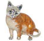 Кошка большая серебро с эмалью ST259-1