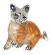 Кошка малая серебро с эмалью ST259-3