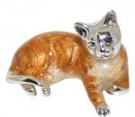 Кошка средняя серебро с эмалью ST259-2