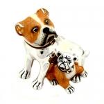 Собака породы Бульдог со щенком серебро ST126