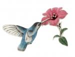 Колибри на цветке серебро ST450