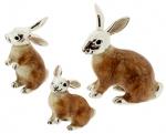 Зайцы серебро с эмалью ST196
