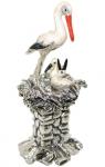 Аист в гнезде серебро с эмалью ST415