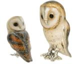 Две совы серебро с эмалью ST442