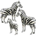 Три зебры серебро с эмалью ST396