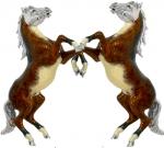 Пара Лошадей серебро с эмалью ST233