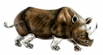 Носорог большой серебро ST343